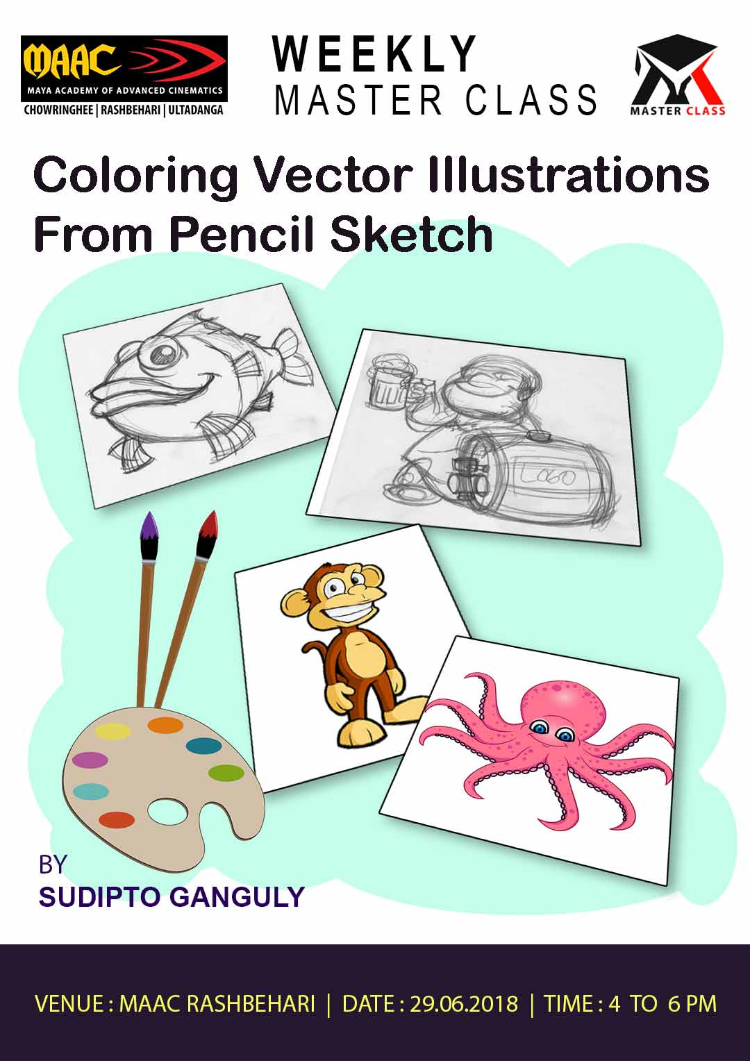 Weekly Master Class on Coloring Vector Illustrations from Pencil