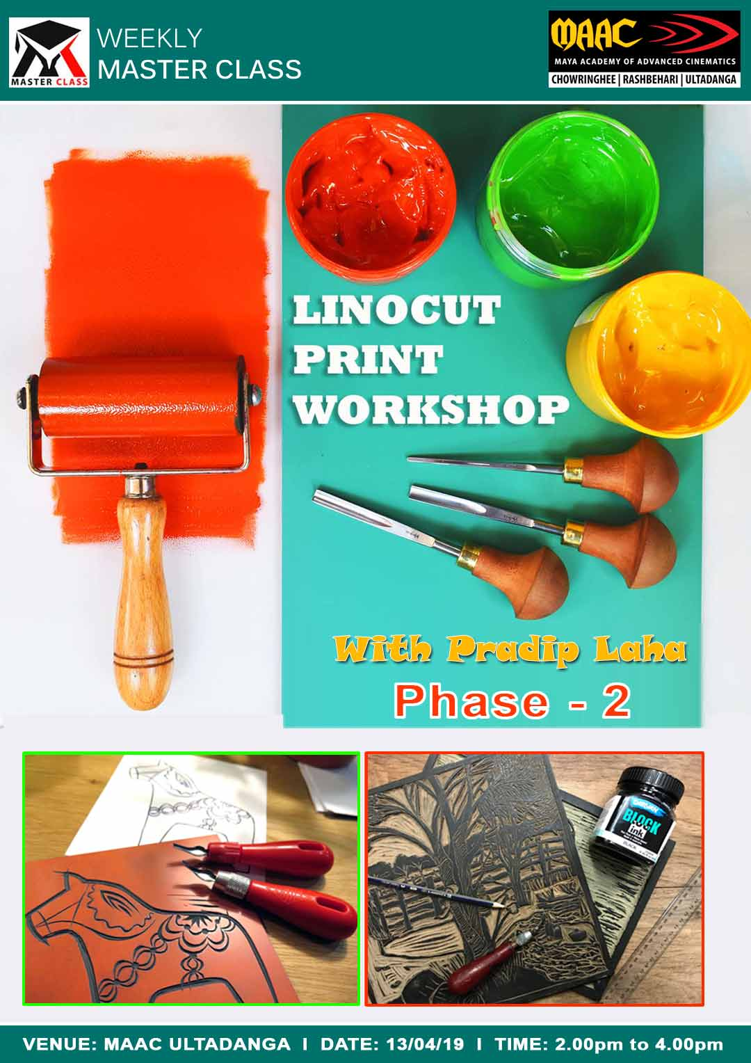 Weekly Master Class on Linocut Print Workshop Phase-2