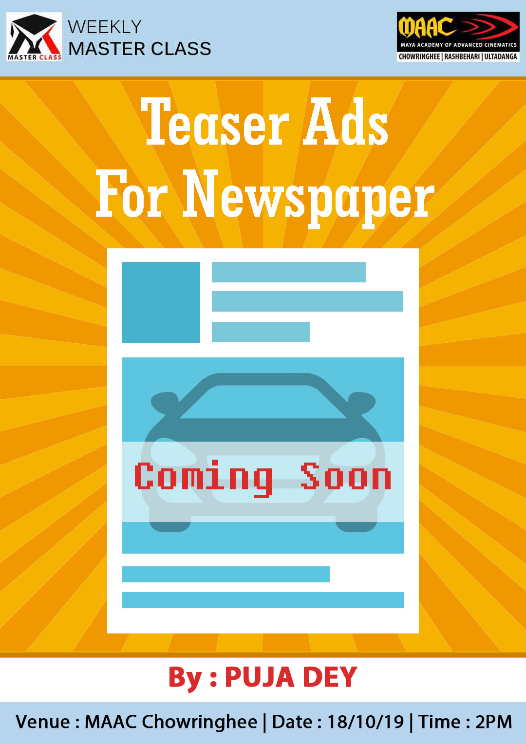 Weekly Master Class on Teaser Ads for Newspaper