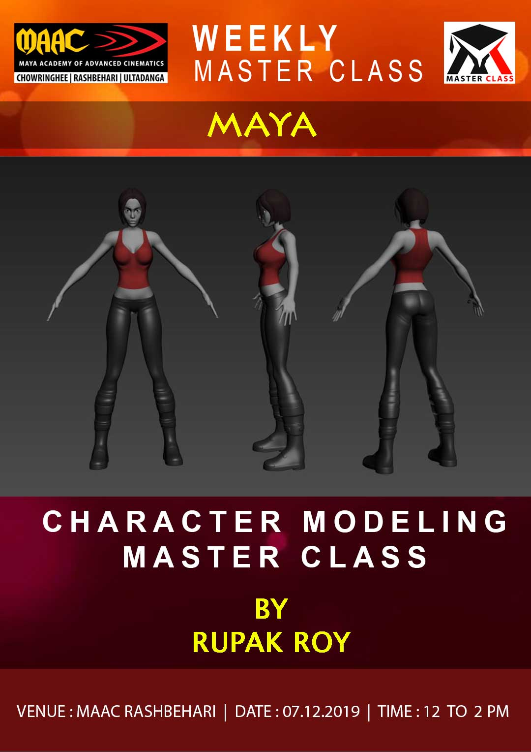 Weekly Master Class on Character Modeling in Maya